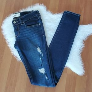 Hollister dark wash destroyed skinny jeans Long